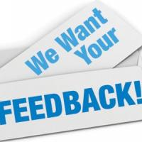 We Want Your Feedback graphic