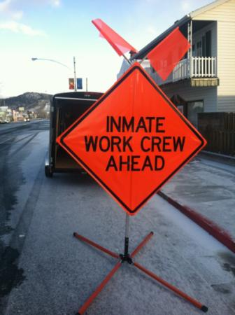 Inmate Worker Program road sign