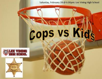 Cops v. Kids basketball flyer
