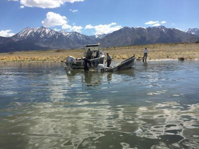 Fishermen on capsized boat on Crowley Lake